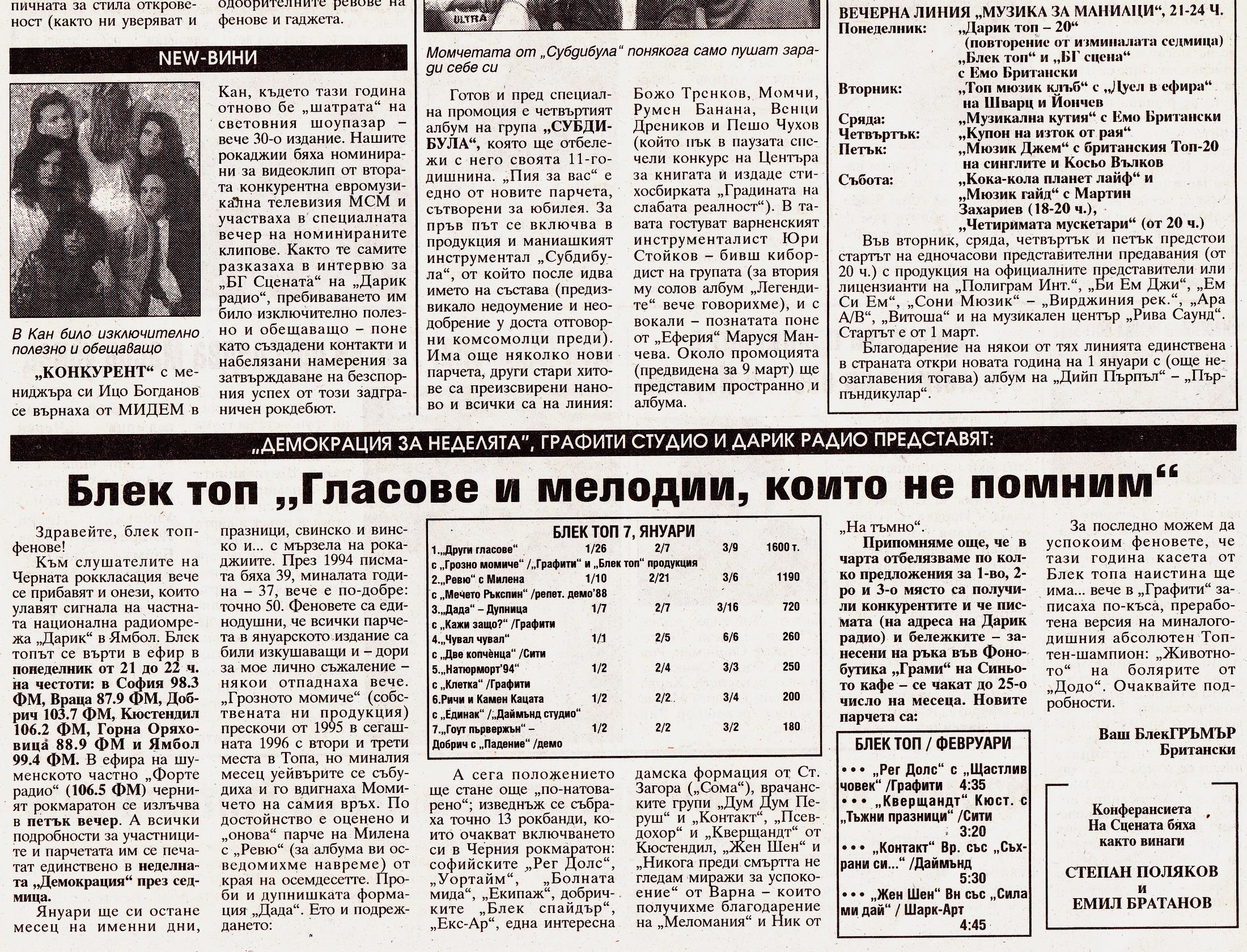 Блек Топ: текущо класиране януари 1996